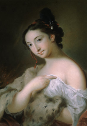 Part of the FOUR SEASONS SET at Peckover House, a painting by Rosalba Carriera, showing a dark haired girl with a jewel in it, half turned to the left