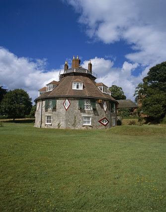 The south west aspect of A la Ronde, a unique 16-sided house