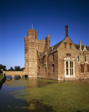 The south east corner of Oxburgh Hall seen from across the moat