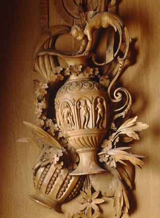 Close-up of carvings in the Long Gallery at Lyme Park