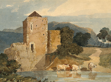 A CASTLE ON A RIVER WITH FOUR CATTLE WADING by John Sell Cotman (1782-1842) a watercolour from the Miss Bailey's Watercolour Bequest at Peckover House