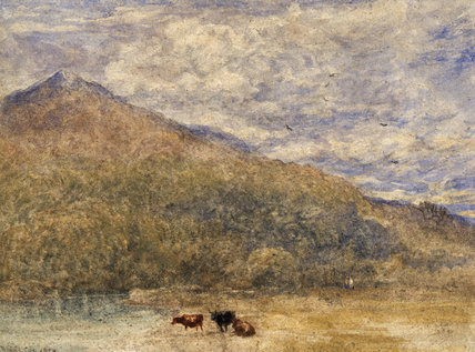 A WOODED MOUNTAIN LANDSCAPE WITH CATTLE BY A RIVER by D. Cox, signed and dated 1850