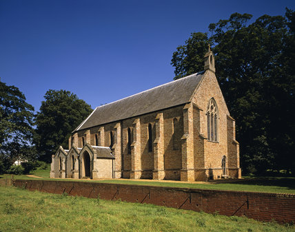 The separate Chapel at Oxburgh Hall, built in 1838, with bricks from demolished cottages