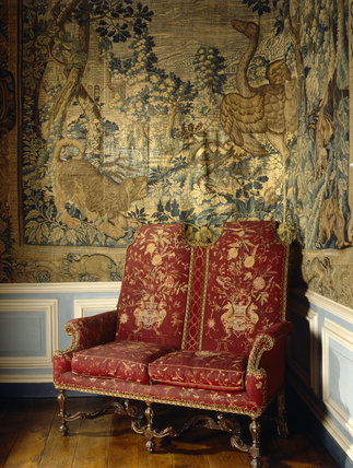 The late C17th. settee in the Yellow Bedroom at Lyme Park.