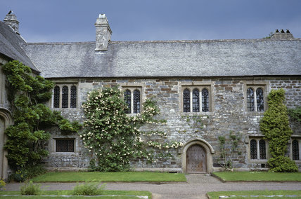 Cotehele - Hall Court showing pink climbing roses against a heavy sky