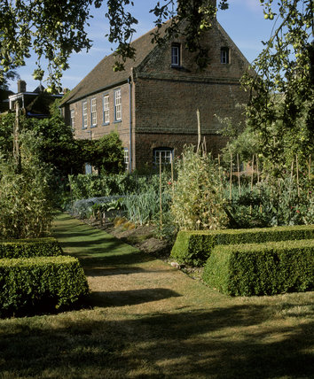 Fenton House, oblique view with the kitchen garden in the foreground
