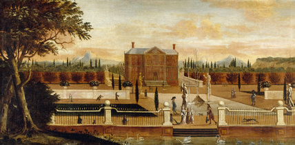 A painting of a 17th century formal garden with fountains, swans and people, hanging in the Lookout Room at Packwood House