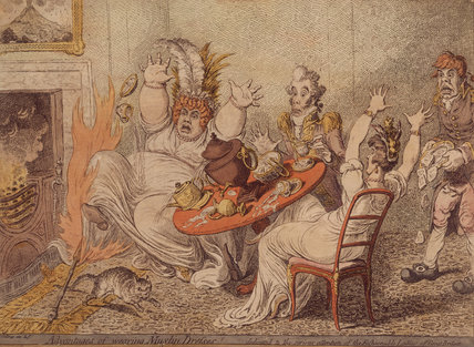 ADVANTAGES OF WEARING MUSLIN DRESSES! by Gillray, 1802