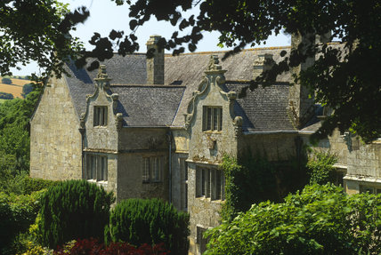 The south end of the east front of Trerice House, showing the decorative Dutch gables