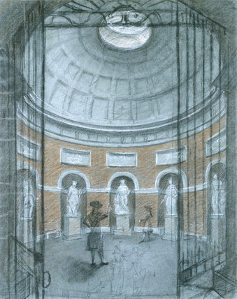 Drawing of THE INTERIOR OF THE PANTHEON AT STOURHEAD by C.W. Bampflyde.