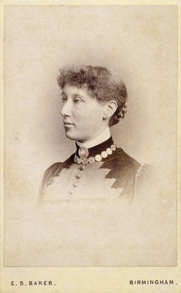 A photograph of Emily Hannah Ash taken in 1885, hanging in the Lookout Room at Packwood House