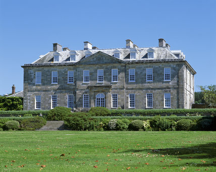 The north front of Antony, Cornwall, showing the steps leading up to the garden terrace