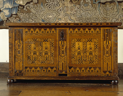 Close-up of Elizabethan `Nonesuch' chest inlaid with holly and bog oak in the Long Gallery at Packwood House
