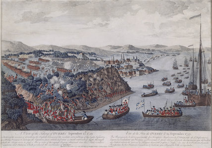 THE TAKING OF QUEBEC, a coloured engraving of the landing place during the invasion of the British