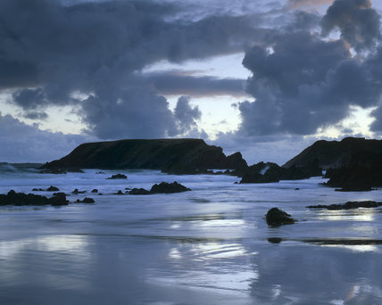 A view of Marloes Sands and Gateholm Island, Pembrokeshire taken after sunset
