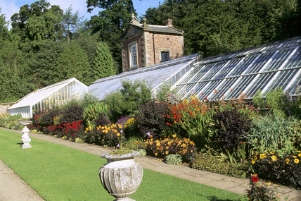 View of the owl house ( apotting shed or bothy) , conservatory and hot border at Wallington