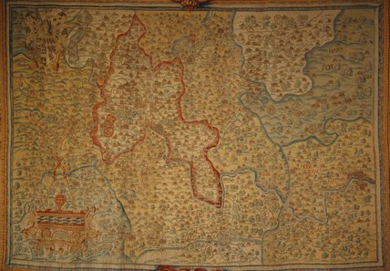 Oxburgh Hall, The Queens Room, The Sheldon Tapestry Map of 1647 showing Oxfordshire & Berkshire