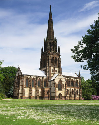 Front view of Clumber Chapel of St.Mary the Virgin, built 1886 to 1889 is as large as a Parish Church, with a magnificent 180ft spire which rises out of an octagonal corona.
