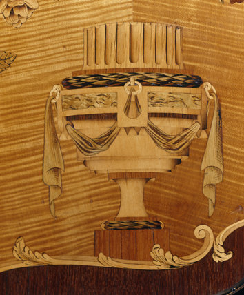 An urn depicted in marquetry on an eighteenth century cabinet at Nostell Priory
