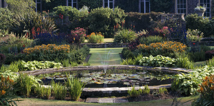 A view looking across the Lily Pool in the Italian Garden at Mount Stewart Garden