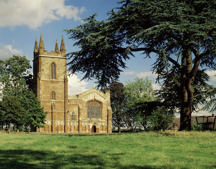 A view of the west front of Priory Church at Canons Ashby which houses a good series of family monuments