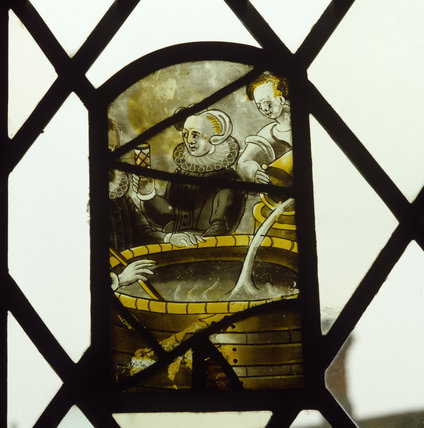 Detail of the painted glass at Oxburgh Hall c16th/17th Century