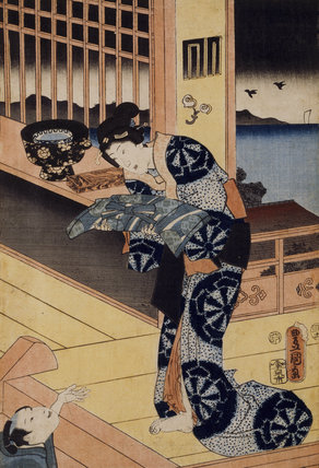 A Japanese print by Toyokuni, showing a lady, one of a collection of prints housed at Standen