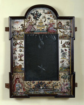 Full view of the stumpwork mirror frame made by Mrs Leopold Jenner in the Great Parlour at Lytes Cary