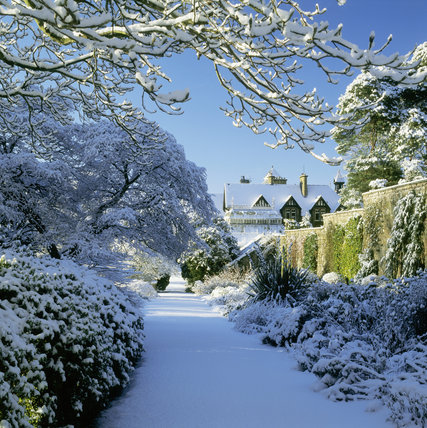 A view of Bodnant Garden taken in the snow, looking towards the house along a walled path
