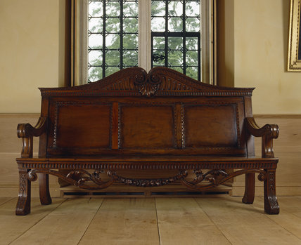 Close up of William Kent bench, one of a pair designed specifically for the Great Room c