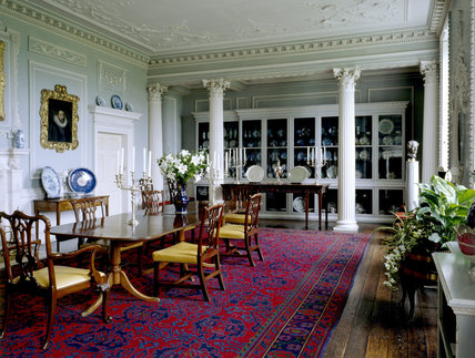 The interior of the Dining Room with its Corinthian columns and fine array of ceramics