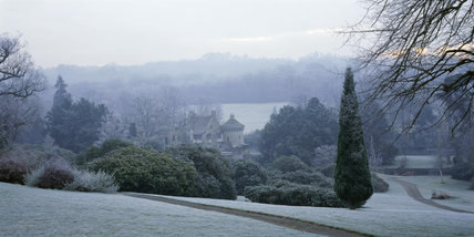 A view of Scotney Castle Garden, taken in January on a frosty morning looking down the hill to the ruined castle