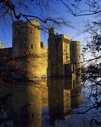 Bodiam Castle, seen across the moat, from the south west, on a crisp winter morning