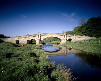 James Paine's bridge, built across the Wansbeck in 1755, on a beautiful spring day