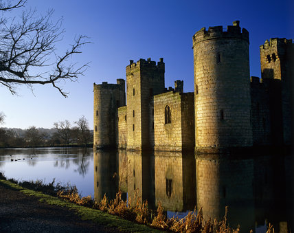An oblique view of Bodiam Castle from the south west, seen across the moat, on a crisp winter morning