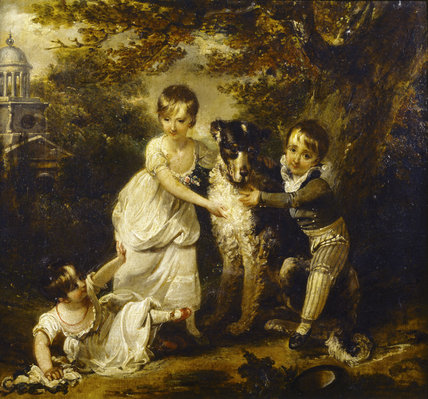 FAMILY PORTRAIT OF SIR JOHN TREVELYAN, 4TH BART by Arthur Devis depicting the children playing outdoors with the dog