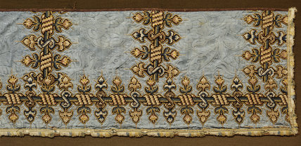 View of a c17th blue silk damask valance, once from Christian Bruce's bed, but now in the Passage by Mary, Queen of Scot's Room, Hardwick