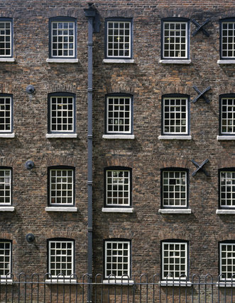 Detail of windows on front elevation of Quarry Bank Mill