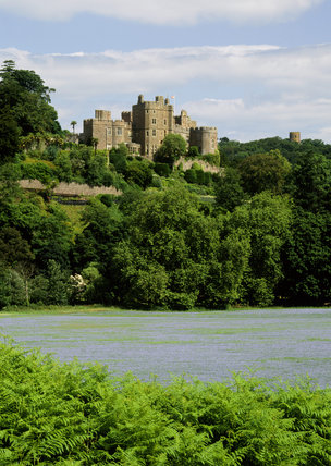 View of the south front of Dunster showing Salvin's faux-medieval battlements and towers built in the 1860s, the original fortifications having been demolished in the c17th