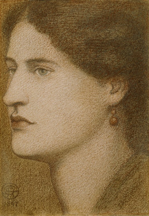 A WOMAN'S HEAD, by Dante Gabriel Rossetti (1828-82), 1867, coloured chalks, in the Drawing Room, Standen