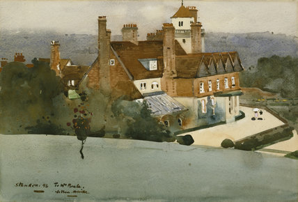 THE GARDEN FRONT OF STANDEN, by Arthur Melville (1855-1904), signed and dated 1896, in the Lower Staircase Hall, Standen