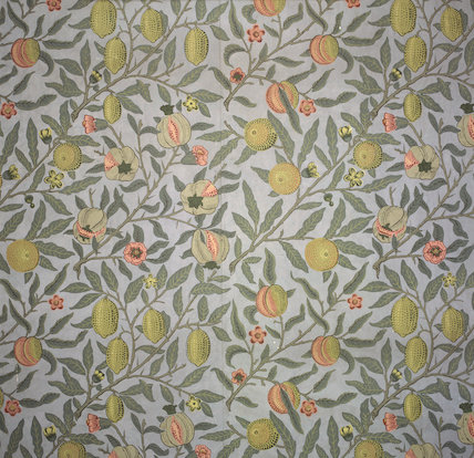 Pomegranate wallpaper designed by William Morris, 1866,  from the Pomegranate Passage at Wightwick Manor