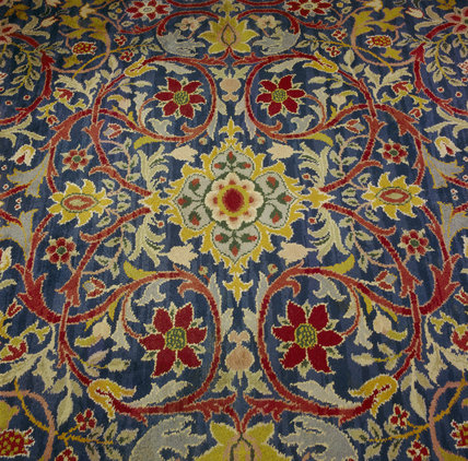 Detail of the hand-knotted carpet by William Morris, probably of the 1890s, in the Oak Room at Wightwick Manor