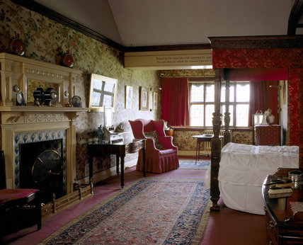 The Indian Bird Bedroom at Wightwick Manor  looking towards the window from the landing door