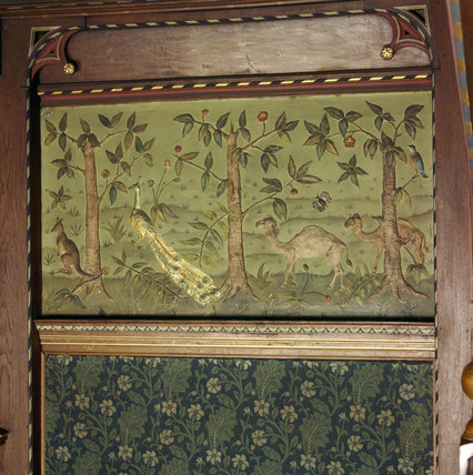 Detail of Charles Kempe frieze in the Great Parlour at Wightwick Manor showing a kangaroo, a peacock and two camels among trees