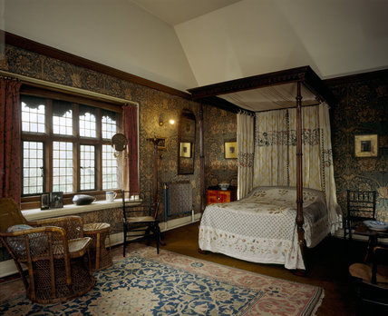 The Honeysuckle Bedroom at Wightwick Manor, looking towards the bed with the window on the left