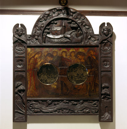 Carved wooden decorated mirror from the Oak Room