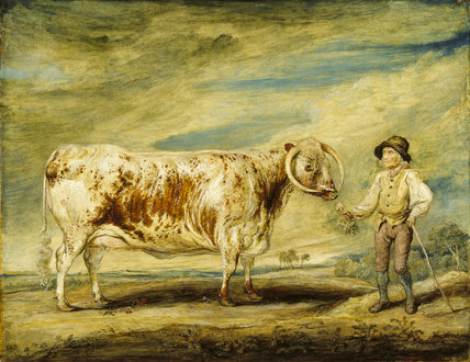 A LONGHORN COW AND FARM LABOURER by James Ward RA (1769-1859) The name of the farm labourer was Jerry Hudson