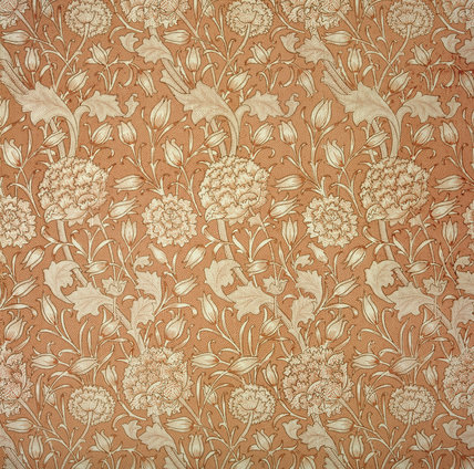 Detail of Wild Tulip Wallpaper by Morris & Co in the Dining Room at Wightwick Manor