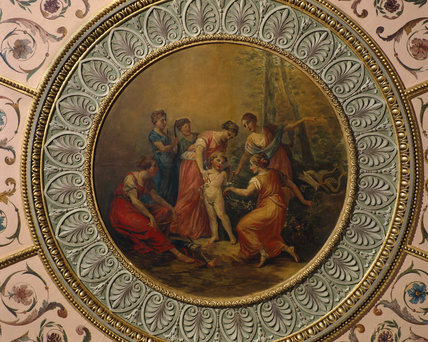 CUPID AND PSYCHE by Zucchi at Nostell, ceiling painting in the Tapestry Room